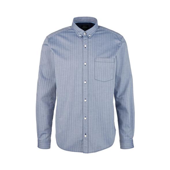 Regular: Hemd mit Fischgratmuster - Twill-Hemd