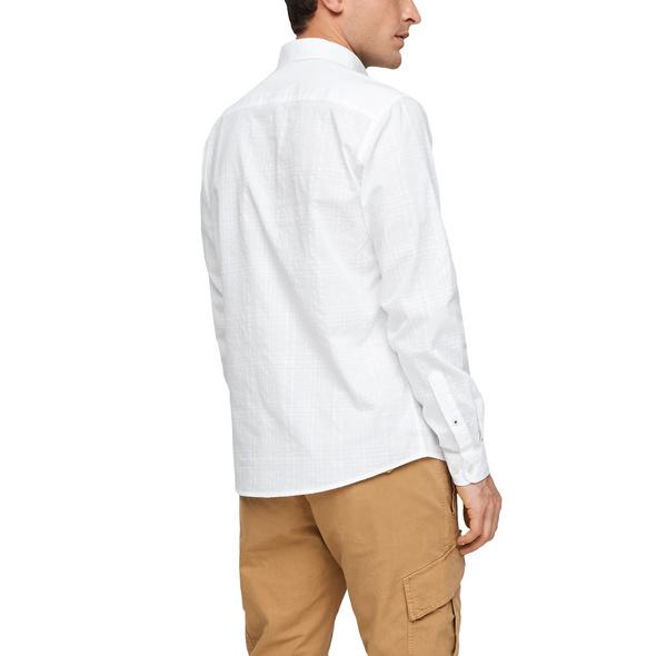 Regular: Baumwollhemd mit Webmuster - Hemd