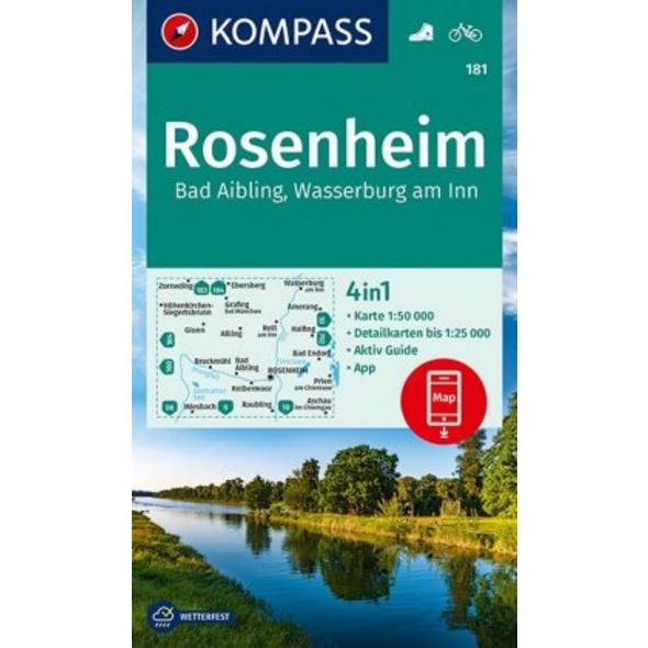 KOMPASS Wanderkarte Rosenheim, Bad Aibling, Wasser