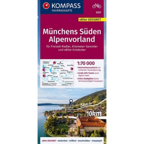 KOMPASS Fahrradkarte Münchens Süden, Alpenvorland