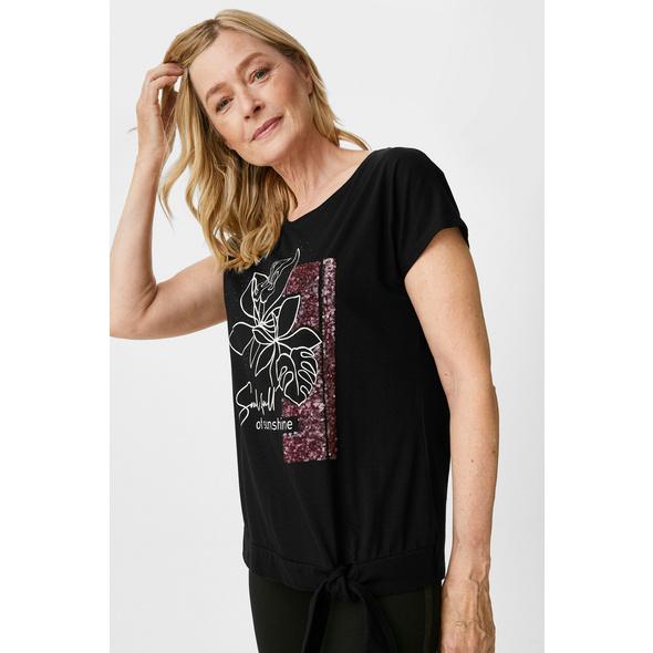 T-Shirt mit Knotendetail - Glanz-Effekt